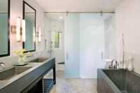 Elegant Privacy with Bendheim SatinTech Shower Doors