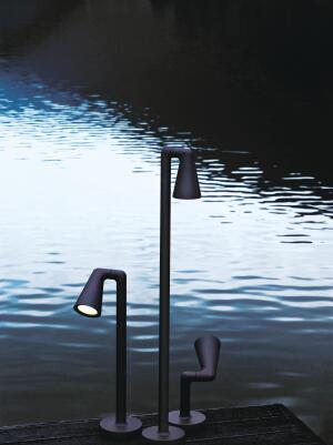 Created by Italian designer Antonio Citterio with Toan Nguyen, Flos' Belvedere collection of outdoor lights uses remote phosphor LEDs, power LEDs, and metal halide light sources. The fixtures are available in five models—each of which has multiple height and base options—including two area lights, two spots, and a wall sconce. A four-phase finishing process combines a cast-aluminum alloy, anodized surfacing, a polyester powdercoat, and vinyl with metallic pigments. flos.com