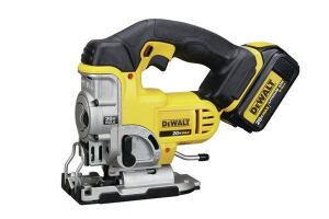 DeWalt DSC331L1Stroke: 1 inch; 0-3,000  Cutting modes: Straight + 3 orbital  Bevel: Tool-free operation; stops every 15 degrees 0 to 45 degrees  LED light: No  Weight w/battery (by ToTT): 6.72 lbs  Web price (bare; kit): $149; $269  Kit includes: One 3.0-Ah battery; charger; case  Country of origin: Czech Republic  Pros: Better-than-average blade clamp; fast in straight mode; fastest tool in orbital mode; tool-free bevel lock with detents every 15 degrees  Cons: No LED light; slightly heavier than average