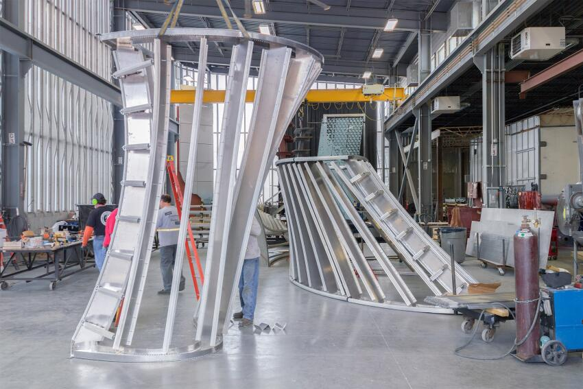 "Zahner fabricators assemble the ""leg"" forms using the company's patented ZEPPS technology."