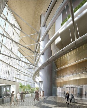 Interior rendering, Shanghai Tower