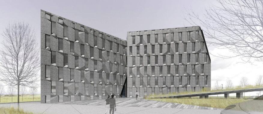 The office complex features five mostly cubic self-similar office blocks, each of which is sliced to allow light or passage between the buildings.