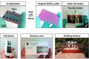 Peel-and-stick solar technology applied to a variety of surfaces.