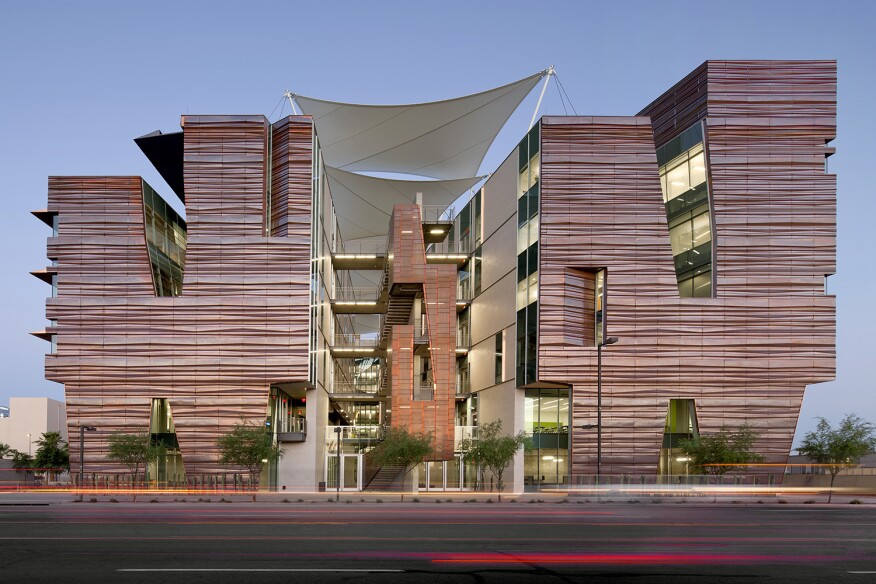 Health Sciences Education Building, Phoenix Biomedical Campus, by CO Architects with Ayers Saint Gross - East elevation.