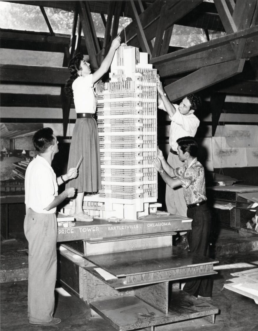 Apprentices in the Taliesin drafting room c. 1952 work on a model of the Price Company Tower in Bartlesville, Okla.