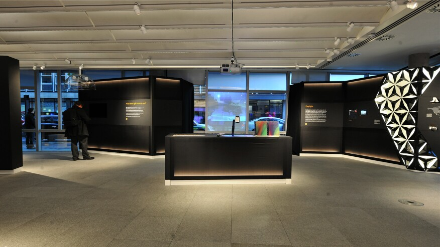 The exhibition space in Arup's London office features LED spotlights that double as Bluetooth beacons.