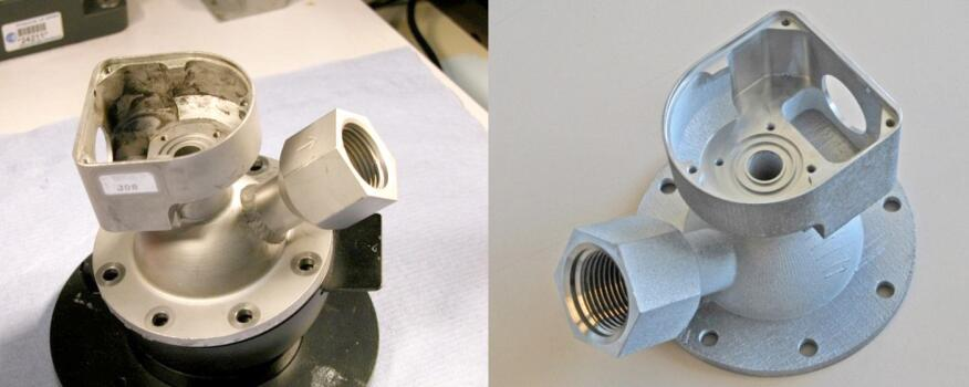 A conventionally machined valve (left) and a 3D printed valve (right).