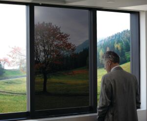 Sage Electrochromics. The company now offers its electronically tintable glass, which uses nanotechnology to allow occupants to control daylight and solar heat transmittance, in combination with triple-pane construction for R-values greater than 8. The tintable glass can be controlled between completely clear, with an SHGC of 0.48, up to heavily tinted (during times of direct sunlight) for a 2% visible light transmittance and an SHGC of 0.09. The glass can be zoned into different tints, thereby allowing for direct sun to be blocked while maintaining a clear lower zone to transmit ambient light. 507.331.4848.  http://sage-ec.com.