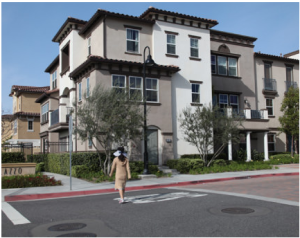 Brandywine Homes developed Renaissance Plaza in Stanton, Calif., from a blighted commercial area (below) into a moderately priced mix of much-needed new housing.