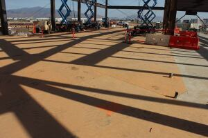 40,000 square feet of Skudo's HT Commercial System protects concrete before polishing at the Cross Border Xpress, a new border crossing center connecting San Diego and Tijuana, Mexico. Skudo products also give crews the option of polishing the slab at the beginning of construction, while they have a wide open area.