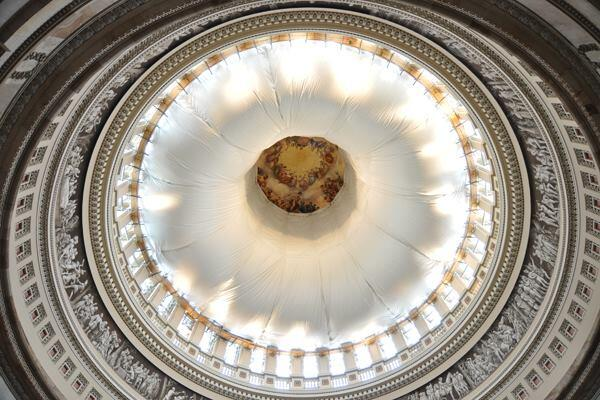Restoration efforts within the underside of the Capitol rotunda in Washington, D.C.