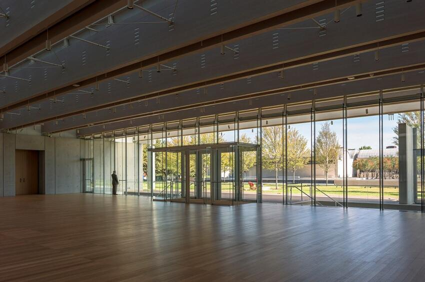 Main lobby of the new Renzo Piano Building Workshop-designed pavilion, overlooking the lawn and Louis Kahn's original Kimbell Art Museum building. Photographed November 2013.