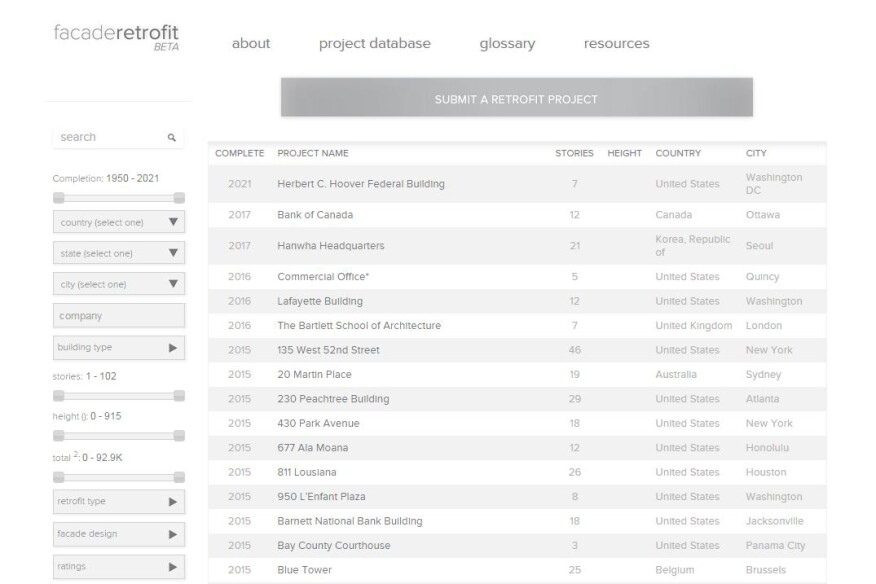 A screenshot of a new online database that tracks retrofits to the facades of commercial and multifamily buildings.