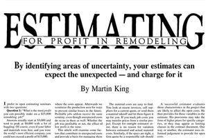 Estimating for Profit in Remodeling