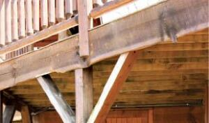 Figure 7. Feather board retains the profile of the saw log's edge for a rustic fascia.