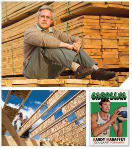 Top: Senior vice president Bill Hofius joined Ply Mart in 1977 and has helped encourage the company's embrace of technology. Bottom left: Builders in Atlanta use engineered I-beams cut to order at Ply Mart. Bottom right: Before becoming president of Ply Mart, Randy Mahaffey played pro basketball for several teams, including the Carolina Cougars.