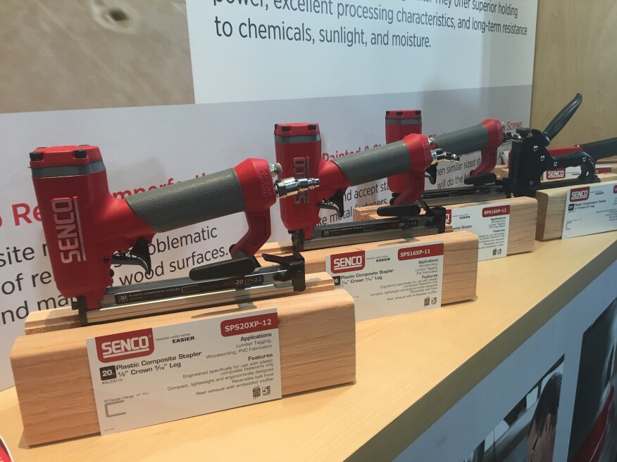 Here's a look at the SPS20XP-12, SPS16XP-11, and the SPS16XP-12 display at STAFDA 2016 in Atlanta. These nailers might look like your typical pneumatic nailer, but they only shoot composite fastners thanks to a shorter drive pin than is found in conventional nailers.