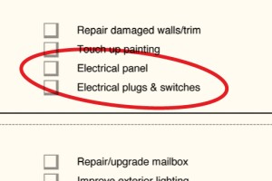 """Electrical UpdatesCo-owners Michael Crossman and Joe Wagner recently updated the list to include an """"electrical panel"""" checkbox because agents said that many buyers check to see if the panel has old fuses or updated circuit breakers. They also added """"electrical plugs & switches"""" to the checklist because, Crossman says, """"for 50 cents a device, we can make the home look fresh."""""""