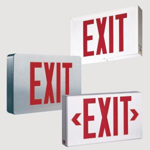 Sure-Lites, a division of Cooper Lighting, has relaunched its collection of die-cast, plastic, and steel exit signs. The CX, LPX, and SLX Exit Signs are now available with red and green letters in one universal package. Sure-Lites has also added its EZ Key external battery disconnect technology, which helps reduce installation time and prevents unnecessary battery drainage. The signs feature lower wattage and faster battery recharge time. They also have a die-cast aluminum housing and can be ceiling-, wall-, or end-mounted. Three finishes are available: black housing with brushed aluminum face, white housing with white face, or black housing with black face. surelites-lighting.com