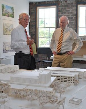 Mayor Riley (left) and Rocco Landesman, the former chairman of the National Endowment of the Arts, in front of a model for the recently completed Gaillard Center