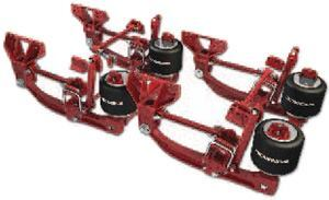 This Hendrickson air suspension has multiple torque arms to properly locate the axles.