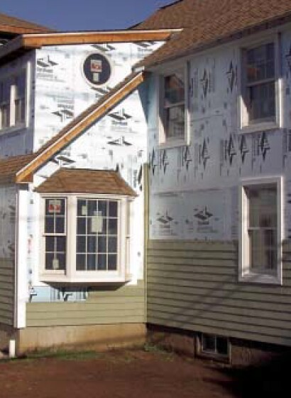Contractor Craig Caulkins of Caulkins Building & Design in Niantic, Conn., routinely applies 1/2-inch or 1-inch Dow Styrofoam to home exteriors under vinyl siding.