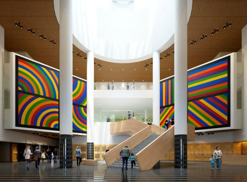 SFMOMA's new Snøhetta-designed stair from the Third Street entrance, with previous atrium art installation by Sol LeWitt.