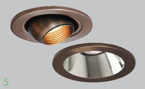 Low-voltage recessed downlights in bronze finish    W.A.C. Lightingwaclighting.com  3- and 4-inch trims    New bronze finish    Includes miniature downlights that use 12-volt, 20-watt xenon or 12-volt, 35-watt halogen lamps    Available models include eyeball, adjustable, step baffle, open specular, and gimbal ring trim styles