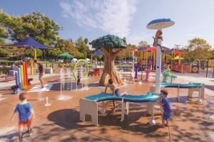 Splash pads such as this one in Margarita Park in Temecula, Calif. attract hundreds of bathers a day, many of them children. Though equipped with automated chemical feeders, they still require routine inspection by a maintenance pro.