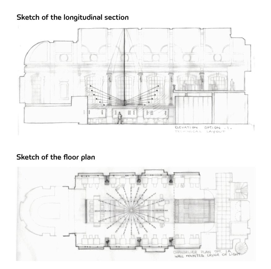Sketch of the longitudinal section; Sketch of the floor plan