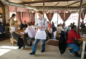A bustling cafe in the vibrant East Nashville community.