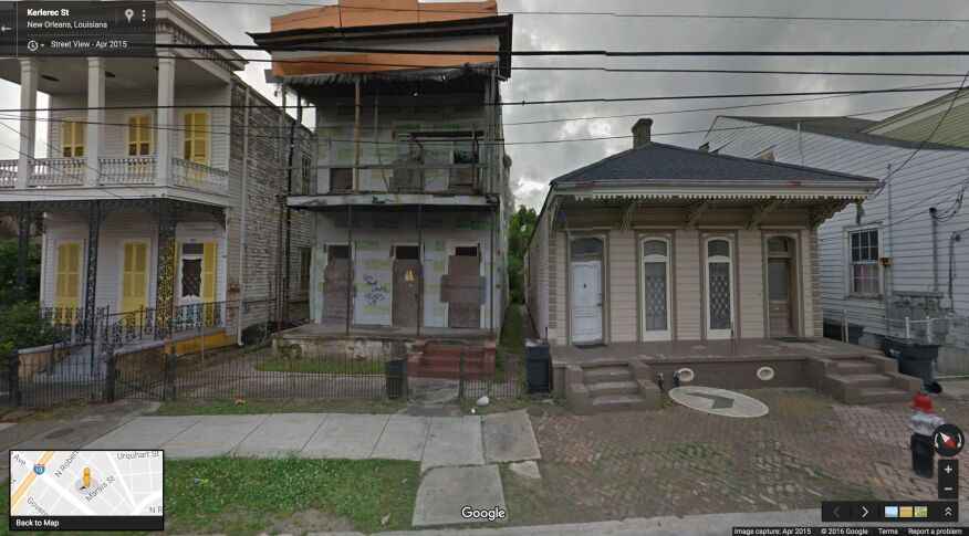 A 2015 Google Street View image provides a historic record of one of the abandoned structures destroyed in August by a weak tornado that touched down in the New Orleans neighborhood of Treme.