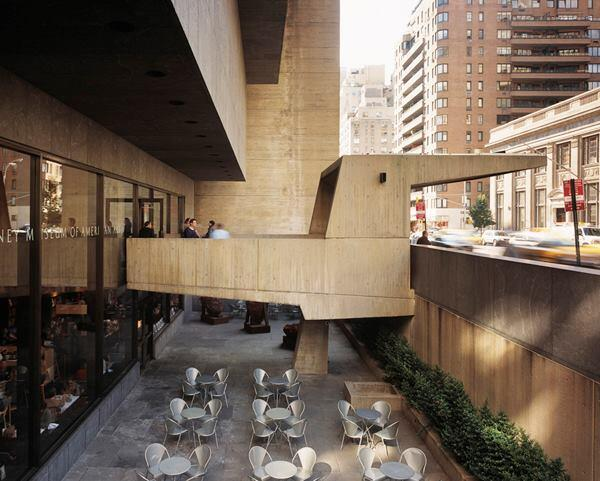 The sunken courtyard beneath the current Whitney was the site of an installation of containers, designed by LOT-EK, in 2012.