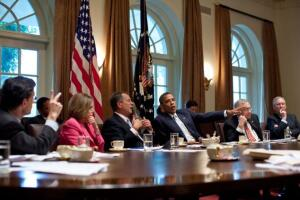 Rep. Eric Cantor, Rep. Nancy Pelosi, Rep. John Boehner, President Barack Obama, Sen. Harry Reid, and Sen. Mitch McConnell participating in a budget meeting in July 2011.