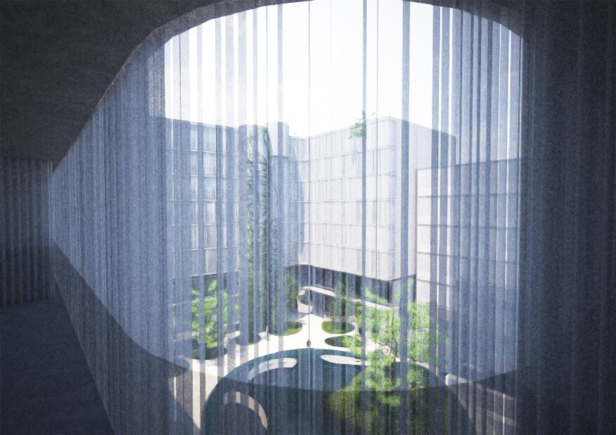 Rendering: A glance into the courtyard through translucent, metallic curtains.