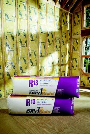 RIGHT STUFF: DryRight is a combination of fiberglass insulation faced with breathable MemBrain  film, whose pores open under moist, humid conditions during the cooling  season and close to block vapor transmission when humidity is low inside  during the heating season. The result, the manufacturer says, is a product  that controls moisture, mold, and mildew growth within wall cavities. It  is available in batts and rolls in R-13 and R-19. CertainTeed Corp. www.certainteed.com.