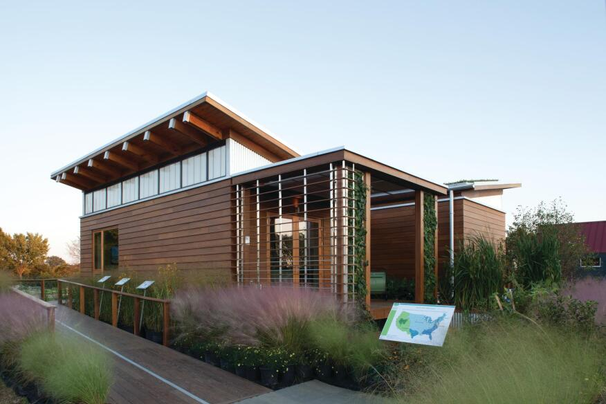 The home built by the University of Maryland team also features a green roof that slows rainwater runoff to the landscape and improves the houseís energy efficiency.