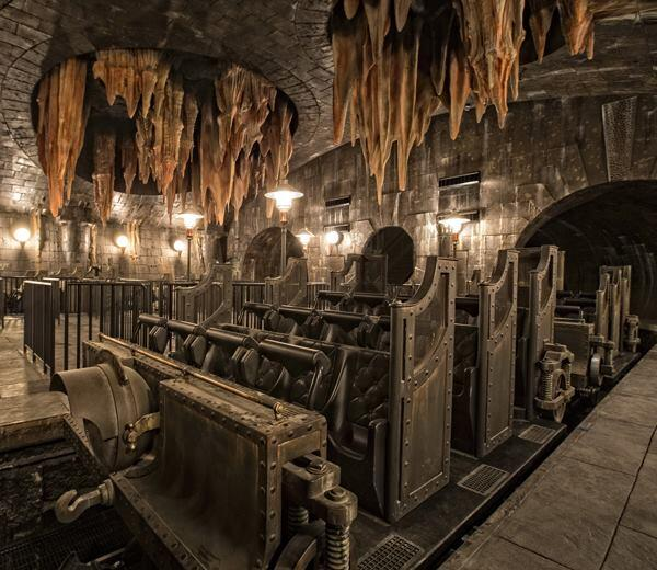 """This """"thrill-ride,"""" part of""""Harry Potter and the Escape from Gringotts,"""" plunges visitors deep into the vaults of the fictional bank."""
