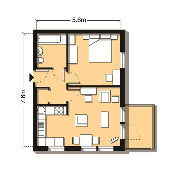 Plans for a 463-square-foot (43-square-meter) one-bedroom flat.
