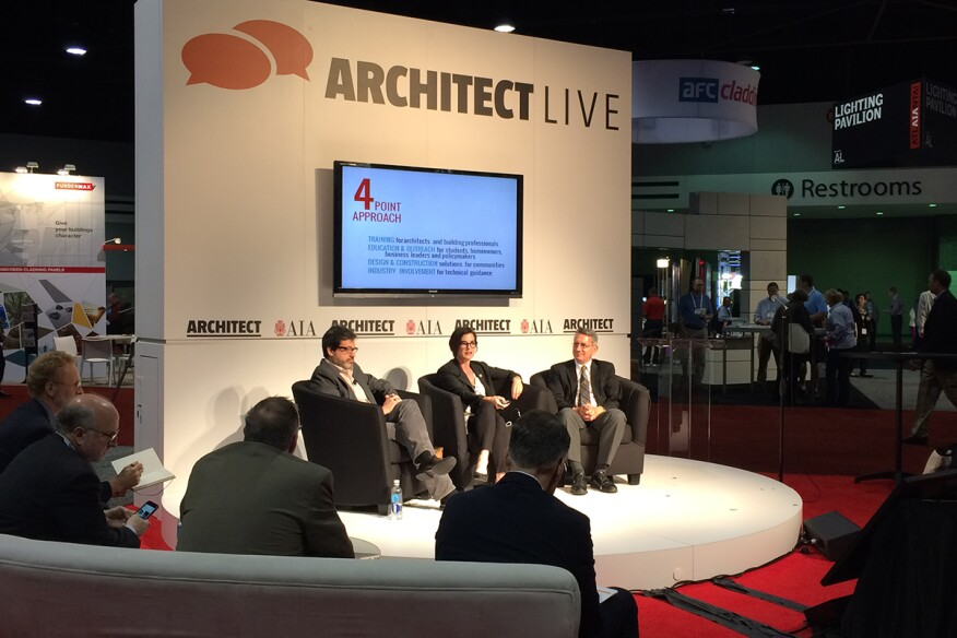 ARCHITECT Live hosted a panel on theRegional Resilience Design Studios on Friday at the AIA Convention.From left: Stephen Luoni, director of the University of Arkansas Community Design Center; AIA Foundation executive directorSherry-LeaBloodworth Botop; andDavid Perkes, the director of the Gulf Coast Community Design Studio.