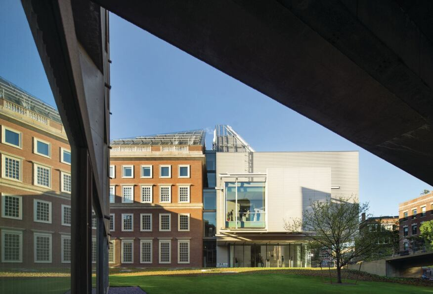 Exterior view of the new Renzo Piano designed addition at the Harvard Art Museums in Cambridge, Mass.