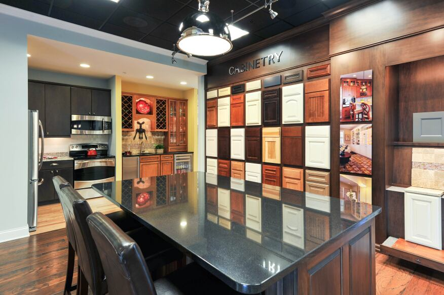 Creating a design center that s beautiful and brainy for Display home kitchen gallery
