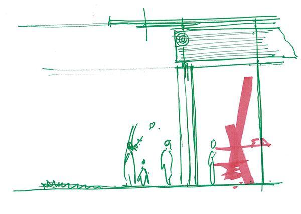 Colonnade section sketch by Renzo Piano.