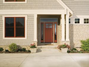Therma-Tru.   Entry doors in the Classic-Craft Canvas Collection are made with smooth fiberglass and shipped ready to paint. The Energy Star–certified doors come in five styles—two-panel square top, two-panel plank soft arch, four-panel arch top, five-panel, and one-panel plank Craftsman—and with a range of glass options, including 11 low-E models. 800.843.7628. www.thermatru.com.