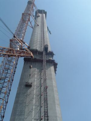 The very tall pylons were built with the help of the world's tallest tower cranes.