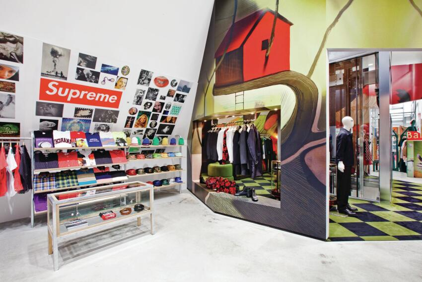 The seventh-floor outpost for Supreme, a label inspired by skateboarding culture, which abuts Prada's greenish cave. The And Re Walker space is visible in the far background.