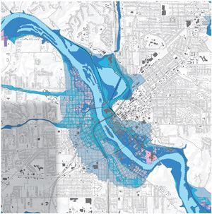 Ten square miles under 10 feet of water. The Cedar River overflowed more than a mile into nine neighborhoods (lightest blue) in Iowa's second-largest city. Plus, 650 damaged-beyond-repair parcels are being returned to the floodplain and supplemented with 7 miles of permanent and removable floodwalls along which pedestrian trails will run. East Grand Forks, Minn., installed removable floodwalls after the Red River overflowed in 1997; as has Minnesota's St. Paul Holman Field Airport, which abuts the Mississippi River. Map: Sasaki Associates/Photo: City of Cedar Rapids Community Development Department