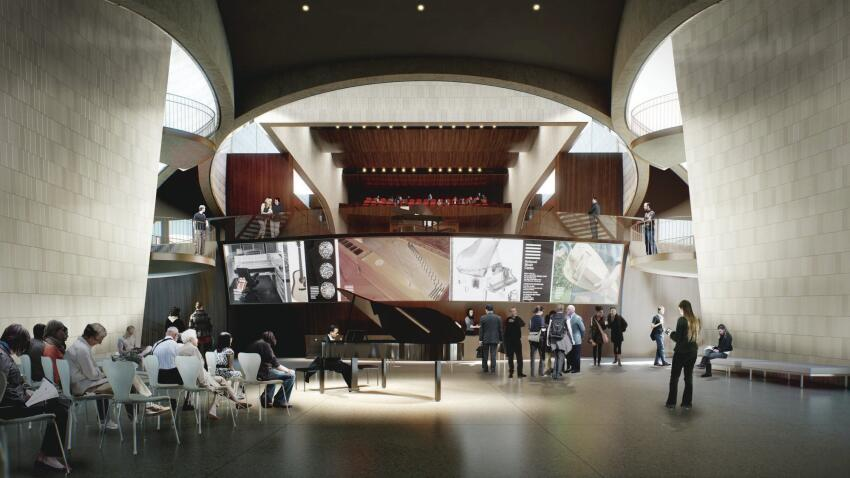 A rendering shows a view of the ground-floor lobby.