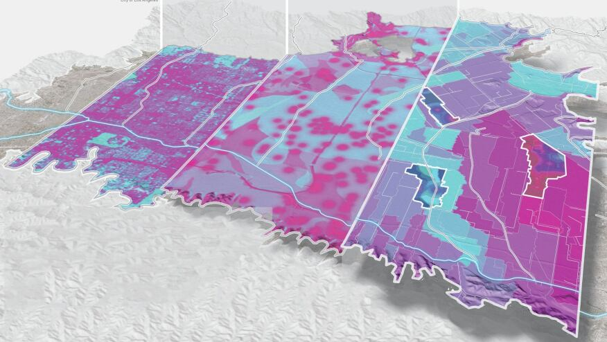 The Arnolds created a stormwater runoff model based on 30-year precipitation data, assessed soil types and ground surface impermeability, and analyzed zones contaminated with chemicals to pinpoint areas in the valley best suited for stormwater infiltration and capture. Case studies explore areas that have extensive contamination, sites that are well suited to infiltration, and sites that are a combination of the two.
