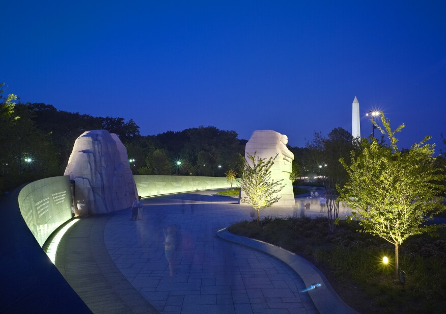 The Martin Luther King Jr. National Memorial site at night.